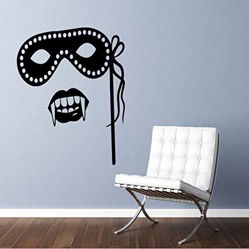 Vinyl hauptdekoration wandaufkleber wohnzimmer maskerade maske und vampir wandtattoo wasserdichte tapete 56x56cm (Maskerade Beste Die Masken)