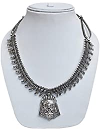 Lucky Jewellery Oxidised Silver Color Alloy Necklace For Gilrls & Women