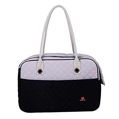 Pet Carrier Tote Bag - DODO Pet Carrier Soft Sided Cat Dog Tote Bag Hand bag Black white Small 1