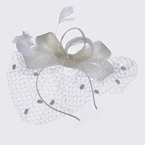 LZY Zylinder für Frauen Vintage Mesh Perle Haarspange Tea Party Hochzeit Kopfbedeckung Cocktail Kentucky Derby Stirnband,Weiß