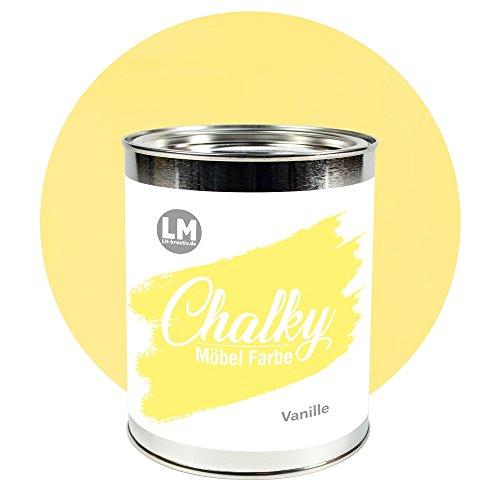 LM-Kreativ Chalky Möbelfarbe deckend (Vanille), deckend, matt finish In- & Outdoor Kreide-Farbe für Shabby-Chic, Vintage und Landhaus Stil, 1 Liter