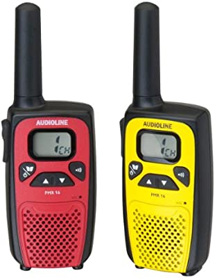 Audioline PMR 16 - Walkie talkies con clip para cinturón (2 unidades)
