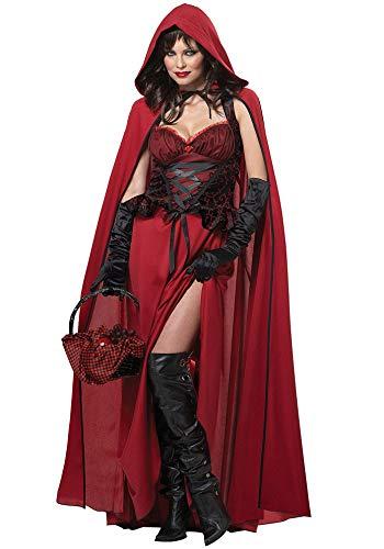 Lecoyeee Halloween Damen Rotkäppchen Kostüm Kleid Set mit Umhang Handschuhe Karneval Kostüm Rotkäppchen Verkleidung Sexy Erwachsene Kostüm für Rollenspiel Party Nachtclub Märchen Faschingskostüm (Sexy Märchen Kostüm Für Erwachsene)