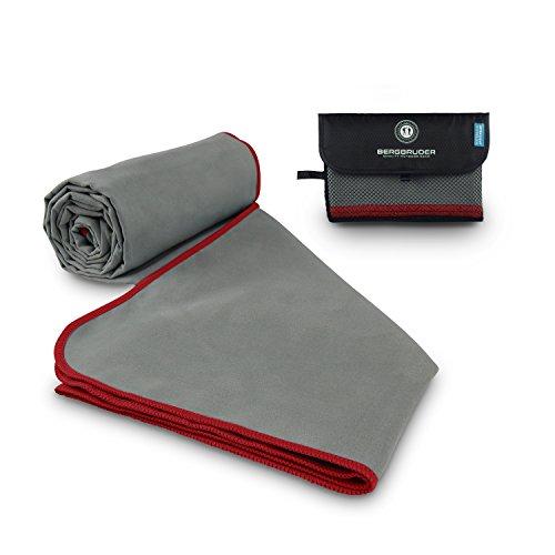 Microfaser Handtücher - Ultraleicht, kompakt, schnelltrocknend & antibakteriell | Perfekt als Reisehandtuch, Sporthandtuch, Badetuch - (Grau-Rot, S 80x40 cm)