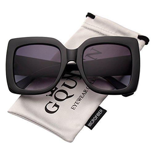 GQUEEN Oversized Damen Sonnenbrille mit rechtecktigem Rahmen mehrfach getönt Glitzer Design inspiriert Stylische Gläser S904