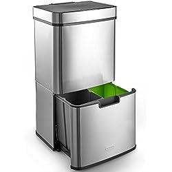 VonHaus Poubelle de tri sélectif à ouverture automatique 72 litres — 3 compartiments — Poubelle automatique/mains libres/infrarouge avec 3 compartiments pour le recyclage — Stickers inclus