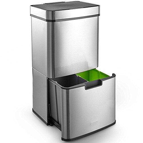 VonHaus Poubelle de tri sélectif à ouverture automatique 72 litres - 3 compartiments - Poubelle automatique/mains libres/infrarouge avec 3 compartiments pour le recyclage - Stickers inclus