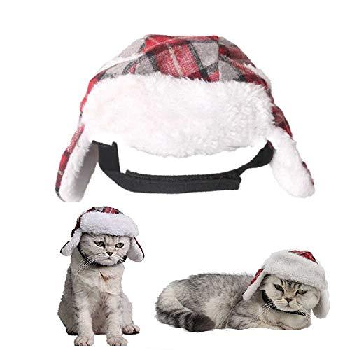 ASOCEA - Gorro de Invierno para Mascotas, diseño clásico de tartán, Accesorio para Perros y Gatos