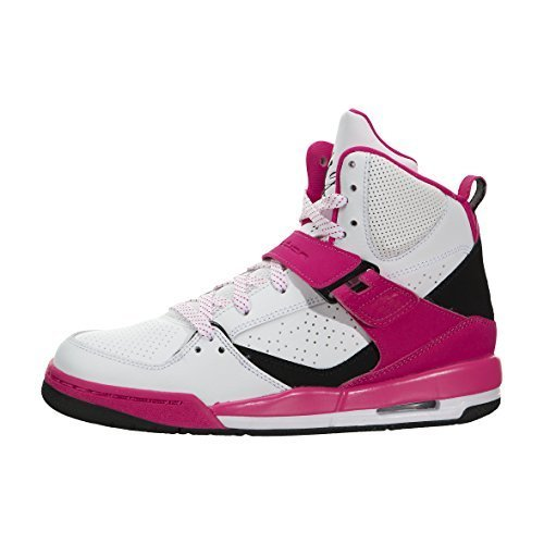 Nike Mädchen Jordan Flight 45 High IP GG Basketballschuhe, Blanco (White/Black-Vivid Pink), 40 EU