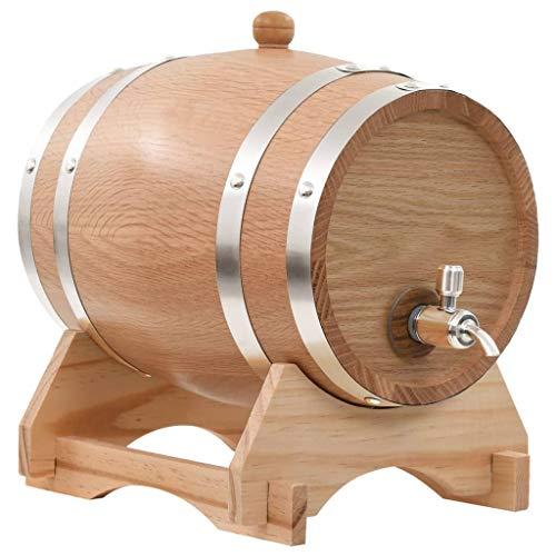 vidaXL Eichenholz Massiv Weinfass mit Hahn 6 L Holzfass Whiskyfass Eichenfass - 5-liter-eichenfass