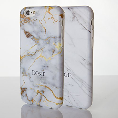iCaseDesigner Schutzhülle für iPhone-Modelle, Marmor-Look mit individuellem Namen oder Initialen, glänzend, Individuelles Design, plastik, 8: Black and White Marble, iPhone 6+ / 6S+ Plus - Slim Case 1: Gold Vein in White Grey Marble