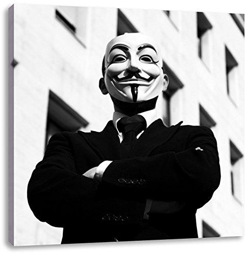 Pixxprint Maske Anonymus schwarz/weiß, Format: 70x70 auf Leinwand