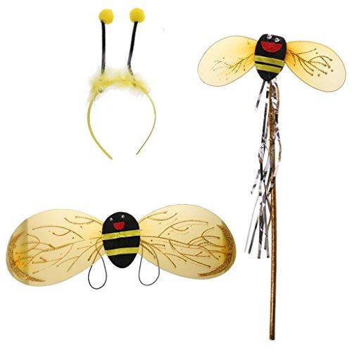 Halloween Bee Kostüme Bumble (Bienen Set Bumble Bee Honig Mädchen Kinder Fee Halloween Karneval)