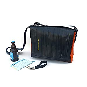 Bikebag L – Schultertasche/Messengerbag Upcycling aus Fahrradschlauch und LKW-Plane braun-rot-orange