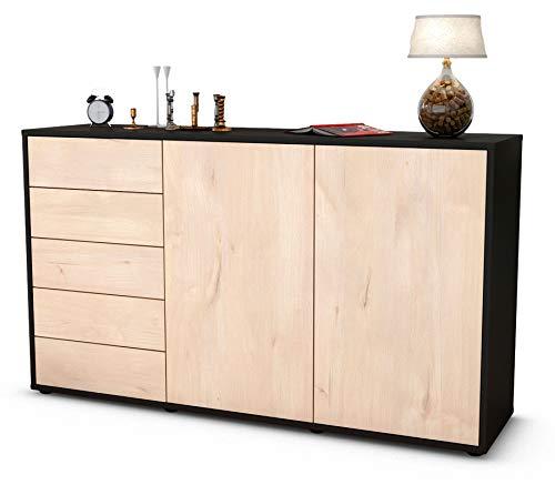 Stil.Zeit Sideboard Dorentina/Korpus anthrazit matt/Front Holz-Design Zeder (136x79x35cm) Push-to-Open Technik und hochwertigen Leichtlaufschienen