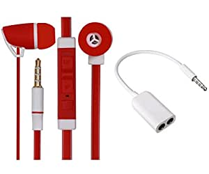 Value Combo Of Premium 3.5mm Designed In Ear Bud Headset Earphones nd Stereo Jack Splitter Cable For Infocus M260 -Red