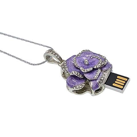 Datarm 16GB Speicher Stick USB Metall Rose Halskette Violett USB2.0 Datenspeicher Stick