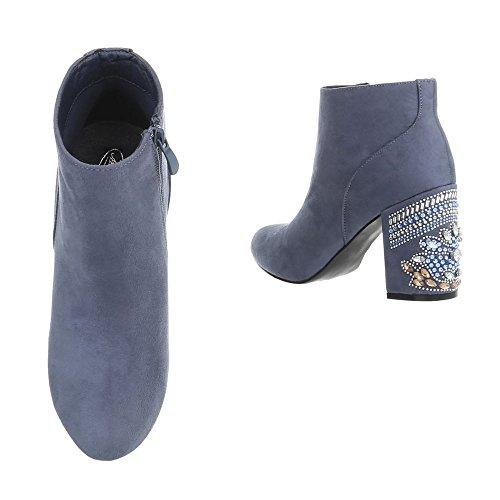 Ital-Design High Heel Stiefeletten Damenschuhe High Heel Stiefeletten Pump High Heels Reißverschluss Stiefeletten Blau V-1-1