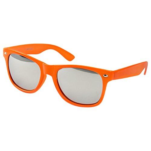Ciffre Nerdbrille Sonnenbrille Stil Brille Pilotenbrille Vintage Look Neon Orange verspiegelt WSO