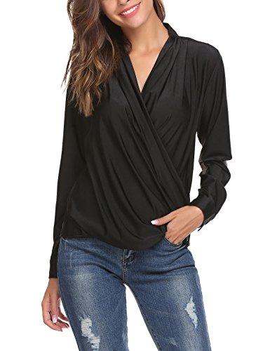 Finejo Damen Sexy V-Ausschnitt Langarm Tunika Blusen Oberteile Shirt mit Rüschen Reißveschluss Am Saum (Eleganz Langarm-shirt Zeigen)