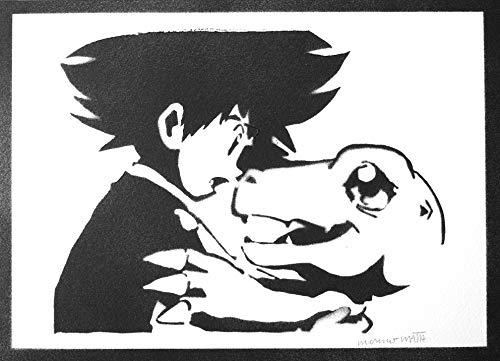 Digimon Poster Taichi Yagami und Agumon Plakat Handmade Graffiti Street Art - Artwork