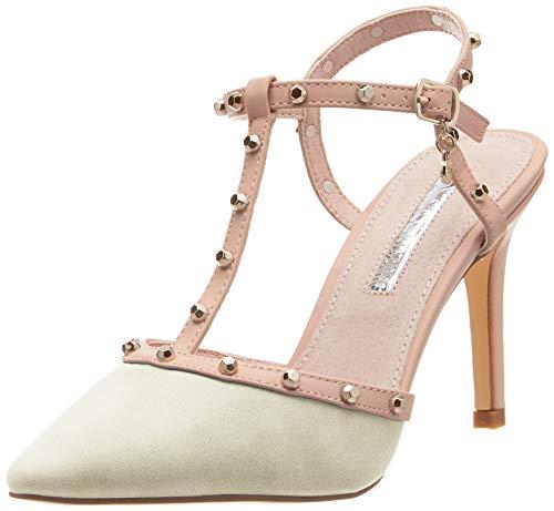 XTI 35046, Zapatos de tacón con Punta Cerrada para Mujer, Blanco Hielo, 38 EU