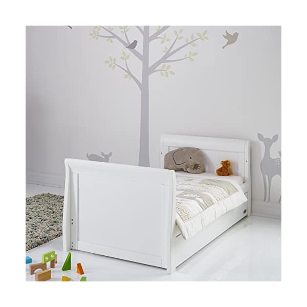 Obaby Stamford Sleigh Classic Cot Bed - White Obaby Adjustable 3 position mattress height Bed ends split to transforms into toddler bed Includes matching under drawer for storage 4