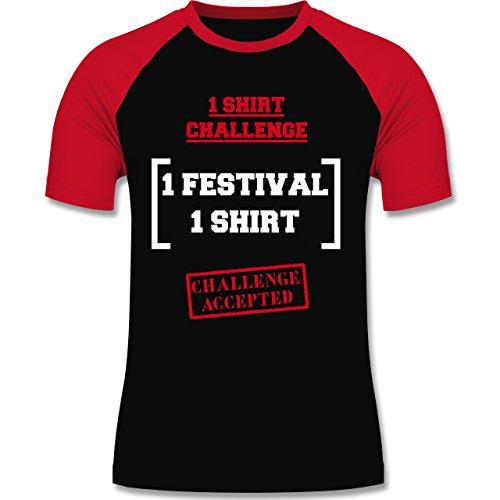 Festival - 1 Shirt Festival Challenge - zweifarbiges Baseballshirt für Männer Schwarz/Rot