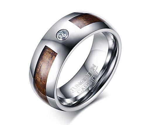 Vnox 8mm Hartmetall Koa Holz Inlay AAA + Zirkonia Hochzeit Engagement Jubiläum Band Ring für Männer
