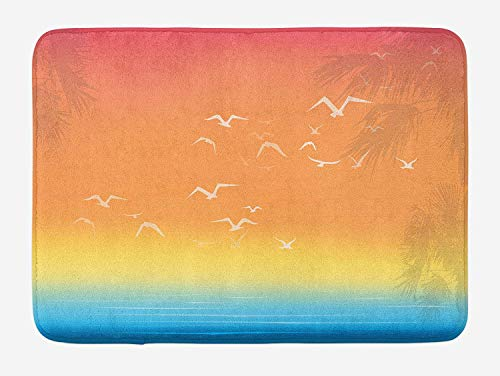 HLKPE Seagulls Bath Mat, Tropical Island Sunset Print with Setting Sun Sea Palm Trees and Birds in Flight, Plush Bathroom Decor Mat with Non Slip Backing, 23.6 W X 15.7 L Inches, Multicolor