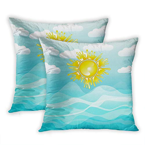 s Set of Two Print Blue Children Sea and Sun Summer Orange Abstract Active Adventure Beach Blank Breeze Sofa Home Decorative Throw Pillow Cover 18x18 Inch Pillowcase Hidden Zipper ()