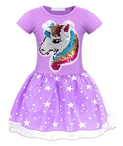 AmzBarley Einhorn Kostüm Tutu Rock Kleid Kinder Mädchen Einhörner Prinzessin Kleider Geburtstag Party Ankleiden Karneval Zeremonie Urlaub Abendkleid Kleidung, Lila, 5-6 Jahre -