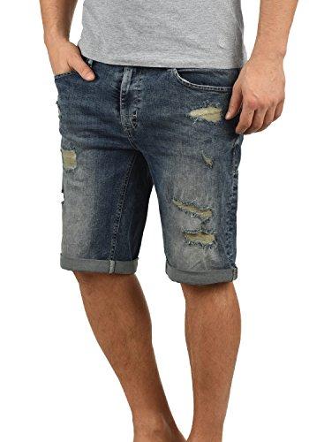 Blend Deniz Herren Jeans Shorts Kurze Denim Hose Mit Destroyed-Optik Aus Stretch-Material Regular Fit, Größe:S, Farbe:Denim middleblue (76201)