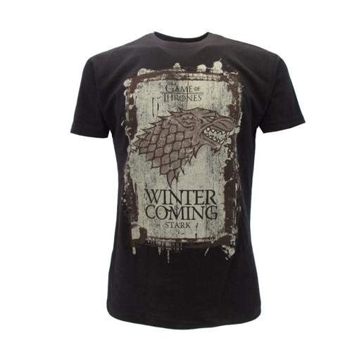 Games of thrones t-shirt originale house stark nera winter is coming trono di spade con cartellino ed etichetta di originalità maglia maglietta (l adulto)