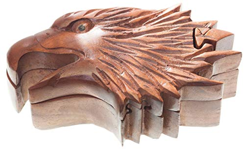 WINDALF Geschenk Dose ARCAN t: 17 cm Adler Schmuckdose Handarbeit aus Holz