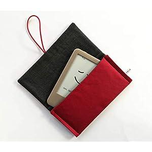 Schutzhülle für ereader oder kleines Tablet/Hülle für Lasegerät/Tasche, Cover, Sleeve, Bag für Kindle, Tolino, Feuer 7, Kobo. Kleines Geschenk. Rot – Grau