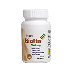 Velicare Biotin 5000mcg 100% Pure For Hair,Skin & Nails 60 Capsules