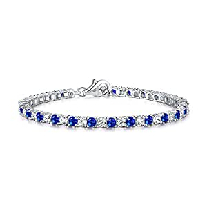 Diamond Treats Blue Sapphire Tennis Bracelet for Women, solid 925 STERLING SILVER with 3mm Sparkling Cubic Zirconia. This 6.5-7 inch Ladies Eternity Bracelet is the Perfect Jewellery Gift for Women.