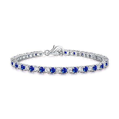 Diamond Treats Tennis Armband künstliche blaue Saphire, 925 Sterlingsilber 3mm glänzende Zirkonias. Dieses 16.5-17,8 cm Armband, symbolisierend die Ewigkeit, ist perfekten Schmuck für Frauen