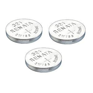3 x Renata 321 Knopfzellen / Uhrenbatterien Swiss Made, Silberoxid, SR616SW, 1,5 V, auch bekannt als