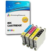 4 XL Compatibles Epson T0441-T0444 (T0445) Cartuchos de tinta para Stylus C64 C66 C68 C84 C84N C84WN C86 CX3600 CX3650 CX4600 CX6400 CX6600 - Negro/Cian/Magenta/Amarillo, Alta Capacidad