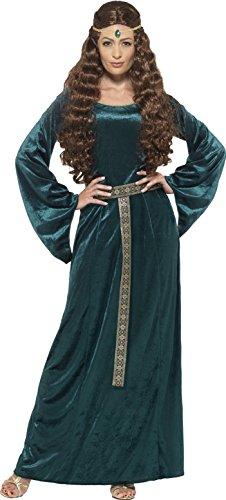 Smiffy's 45497L - Damen Mittelalterliche Magd Kostüm, Kleid und Haarband, Größe: 44-46, grün