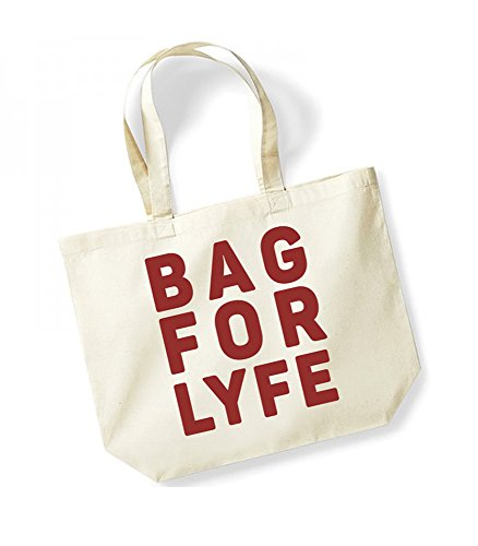 Bag For Lyfe - Large Canvas Fun Slogan Tote Bag Natural/Red