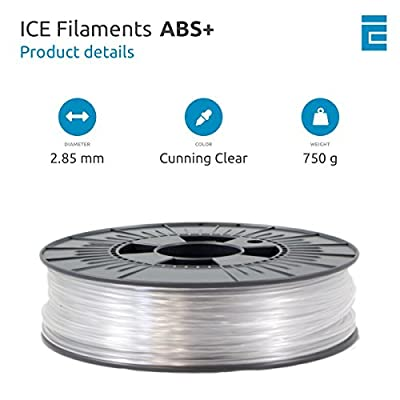 ICE FILAMENTS ICEFIL3ABSPLUS213 ABS+ Filament für 3D-Drucker, 2,85 mm, 0,75 kg, Cunning Clear