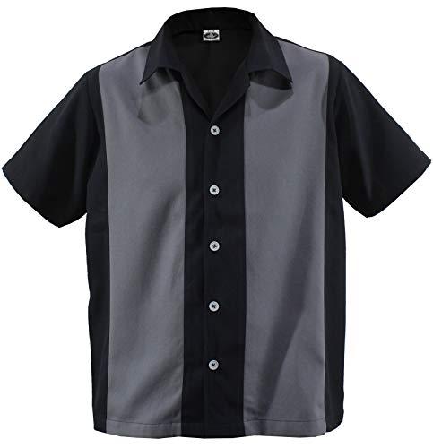 Herren Bowling Shirt Worker Hemd Rockabilly Two Tone Gabardine Lounge Fifties Vintage Retro Double Panel D600 (XL/Xtra-Large, Schwarz/Dunkelgrau) - Xl Retro Bowling Shirt