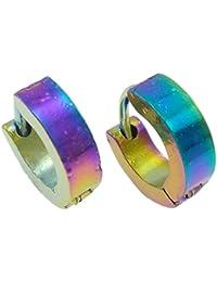 Farbig Bunte Ohrringe Creolen aus Edelstahl, 10mm Durchmesser, 3mm breit