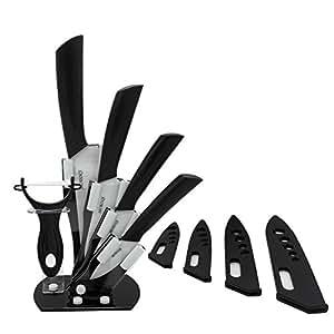 """Set di coltelli in ceramica, mqkpower ® Set 5 pezzi di coltelli in ceramica, con supporto, colore: nero, da 7,62 cm (3"""") Pelapatate-Coltello da frutta, colore: nero 10,16 (4 cm, taglierino, coltello per affettare 15,24 cm (6"""") 12,70 (5, CJ, cm un coltello da Chef"""