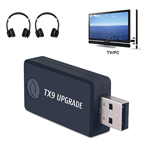 (Versione Aggiornata) Trasmettitore Bluetooth per TV PC, Low Latency, (3.5 mm, RCA, USB del Computer Audio Digitale) Dual Link Wireless Audio Adattatore per Cuffie, Plug and Play