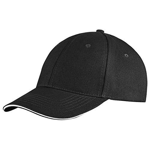 famvis Style Klassische Baseball Cap für Damen und Herren aus reiner Baumwolle, verstellbar, Basecap Kappe Mütze Hut schwarz