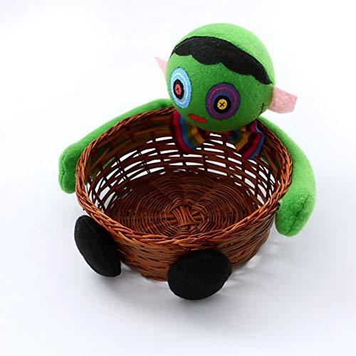 JER 1 PCS Halloween Süßigkeiten Korb Geist Kürbis Kopf Puppe Dekoration Schüssel für Keks Obst, Zombie Halloween Spielzeug